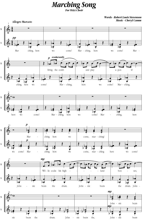 Marching Song Sheet Music Score Musical Notation By Cheryl Camm
