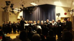 The Bridge Singers with sheepy decor