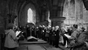 Gathering round Eliza at Lanercost Priory